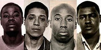 """Zebra murders - Convicted """"Zebra murderers"""" at the time of their arrest in 1974: Manuel Moore, Larry Green, Jessie Lee Cooks, and J.C.X. Simon"""