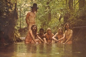 The Allman Brothers Band (album) - The gatefold album sleeve features the band posing nude in a brook.
