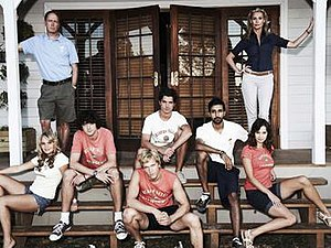 Beaver Falls (TV series) - The main cast of Season 1. Bottom row from left to right: Natasha Loring as Kimberley, John Dagleish as Barry, Jon Cor as Jake, Arsher Ali as A-Rab and Kristen Gutoskie as Rachael. Top row from left to right: Todd Boyce as Bobby, Sam Robertson as Flynn, and Alison Doody as Pam.