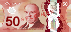 Canadian fifty-dollar note - Image: Canadian $50 note specimen face