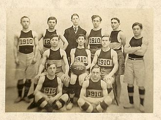 Dan Daniel (sportswriter) - City College Basketball Team, 1910. Daniel is in the back row wearing a suit.