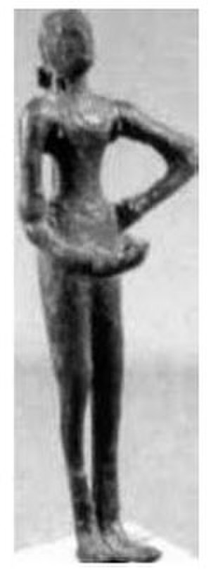 Dancing Girl (sculpture) - Second bronze statuette of a girl c.2500 BC, now displayed at Karachi Museum, Pakistan.