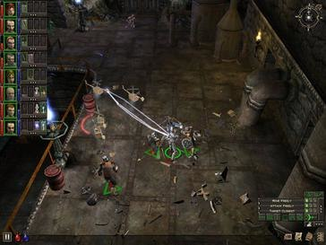 An overhead view of eight characters fighting with robots with UI elements overlaid