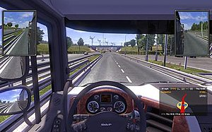 Euro Truck Simulator 2 - Driver's view from a DAF XF during game play