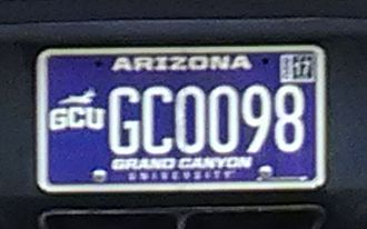 Vehicle registration plates of the United States - Grand Canyon University specialty plate issued by the U.S. state of Arizona