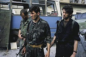 Croat–Bosniak War - HVO, ARBiH, and HOS soldiers in Mostar, June 1992.