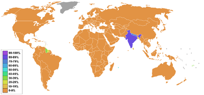 Hinduism - Percentage by country