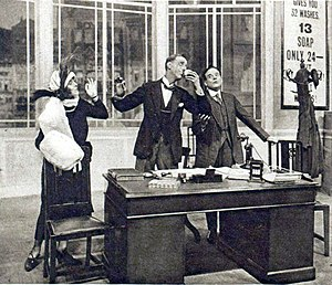 It Pays to Advertise - Ralph Lynn (centre) with Cecilia Gold and Will Deming in the 1924 London production