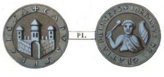 Jordan I of Capua - Lead seal depicting the city of Capua (obverse) and Prince Jordan I (reverse).