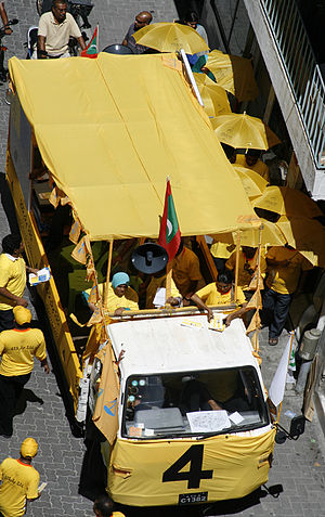 Maldivian Democratic Party - MDP rally on the streets of Malé during the presidential election campaigns of 2008