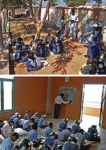 rural development foundation  top students in matendla village medak district attend classes in 2002 before they have a building bottom students study math in the new matendla rural
