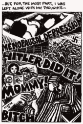 "Comics panel. Drawing of Art's mother dead in a bathtub and Art in prison uniform. ""Menopausal depression"", ""Hitler did it!"", ""Mommy!"" and ""Bitch"" are written across the panel."