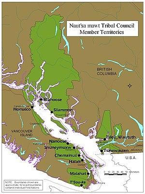 Naut'sa mawt Tribal Council - Territories and locations of Naut'sa mawt Member Nations