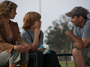 James Vasquez - Vasquez (right) directing Carrie Preston and Lurie Poston on the set of the film Ready? OK!