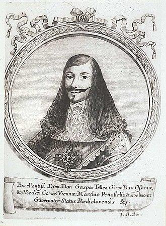 Siege of Badajoz (1658) - Engraving of Gaspar Téllez-Girón, 5th Duke de Osuna by Giovanni Battista Bonacina.