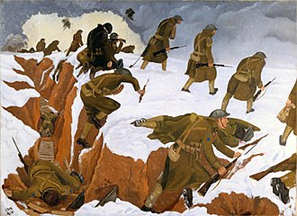 Artists Rifles - Over The Top, 1918, oil on canvas, by John Nash. The 30 December 1917 Welsh Ridge counter-attack, during which the 1st Battalion, The Artists' Rifles left their trenches and pushed towards Marcoing near Cambrai. Of the 80 men, 68 were killed or wounded during the first few minutes.