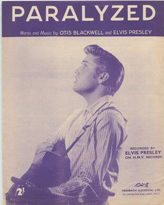 Paralyzed (Elvis Presley song) - 1956 UK sheet music, Aberbach, London.