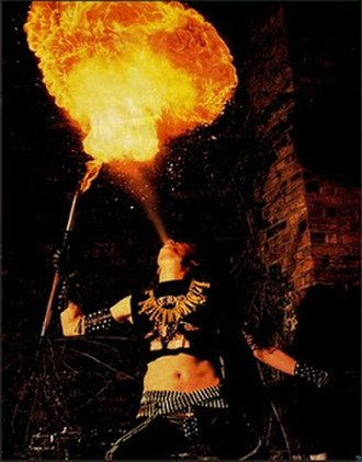 Black metal - Quorthon of the band Bathory breathing fire