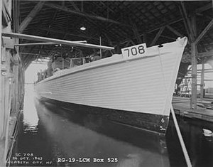 Elizabeth City, North Carolina - Submarine chaser SC-708 under construction at Elizabeth City Shipyard. The shipyard not only built the most subchasers for the US Navy (30 out of 438) but also holds the record speed for construction of said class, with SC-740 laid down in only thirty days.