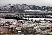 North western San Bernardino January snowfall with Shandin Hills in the background