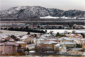 San Bernardino Valley - Occasional January snowfall in the eastern San Bernardino Valley, Shandin Hills are visible in the background.