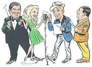 Kraft Music Hall - Joe Sinnott's caricature of the Kraft Music Hall (l to r): Orchestra leader John Scott Trotter, Marilyn Maxwell, Bing Crosby and announcer Ken Carpenter. Veteran Marvel Comics artist Sinnott also illustrated the covers of several Crosby albums.