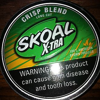 Skoal (tobacco) - A tin of Skoal X-tra Crisp Blend Long Cut.