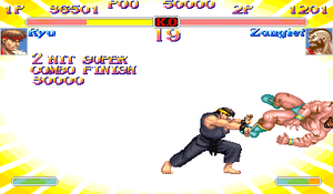 Super Street Fighter II Turbo - Ryu finishes off Zangief with his Shinkū Hadōken Super Combo.