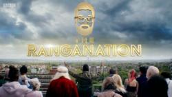 Contorno de una figura barbuda y las palabras The Ranganation en oro.  A continuación se muestra un grupo de personas mirando en la dirección opuesta a la cámara.
