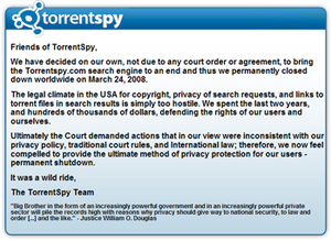 TorrentSpy - TorrentSpy after the shutdown.