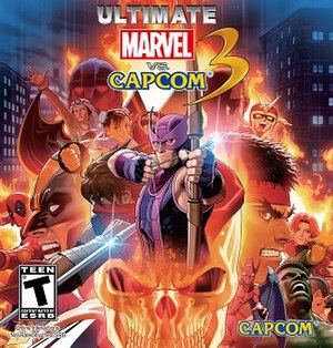 Ultimate Marvel vs. Capcom 3 - Front cover art, designed by Shinkiro, featuring several playable characters from the game.
