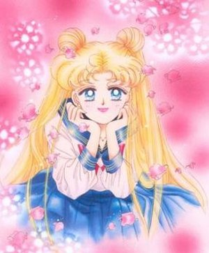 Usagi in her school uniform, as drawn by Naoko...