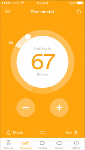 Vivint - The thermostat controls on the Vivint app for iPhone.