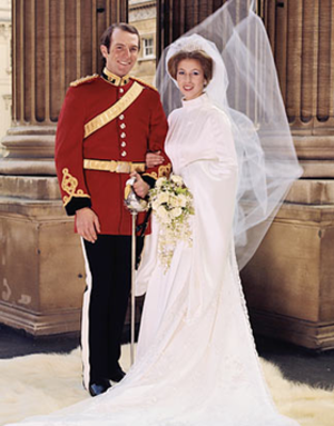Wedding dress of Princess Anne - Princess Anne and Mark Philips on their wedding day.