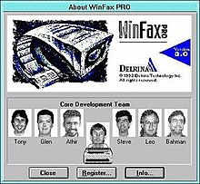 "Delrina WinFax 3 ""About"" dialog with pictures of several of the lead developers about to be fed into a fax machine"