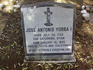 José Antonio Yorba - Yorba's cenotaph at the Mission San Juan Capistrano cemetery.