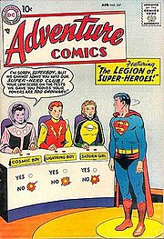 The cover of Adventure Comics #247 (April 1958), the Legion's first appearance.