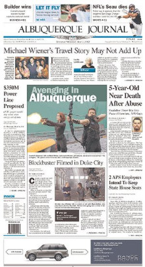 Albuquerque Journal - Image: Albuquerque Journal front page