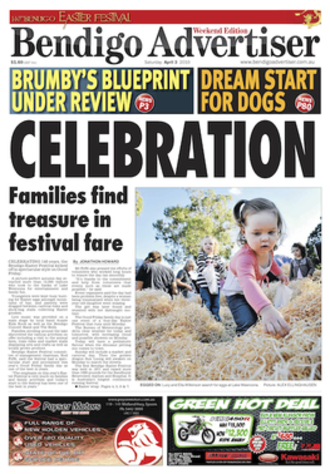 Bendigo Advertiser - Front page of the Bendigo Advertiser on 3 April 2010