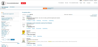 "Bibsys - Screenshot of the Oria search page, showing a search for ""Wikipedia"" at the University of Bergen Library"