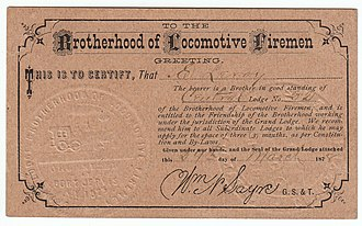Brotherhood of Locomotive Firemen and Enginemen - An early membership transfer card of the Brotherhood of Locomotive Firemen (Central Lodge, Urbana, IL, 1878).