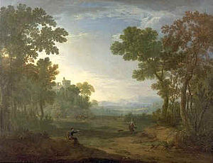 Robert Carver (painter) - An Arcadian Landscape with Travellers and Herdsmen in the Distance, Oil on canvas, 37 x 48¼ in, 94 x 122.5 cm, Signed with initials and dated 'R.C. 1764'