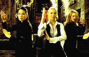 Charlie's Angels (film) - One of the most widely reproduced publicity images from Charlie's Angels features (L to R) Lucy Liu, Cameron Diaz, and Drew Barrymore in defensive posture as they prepare to subdue The Creepy Thin Man.