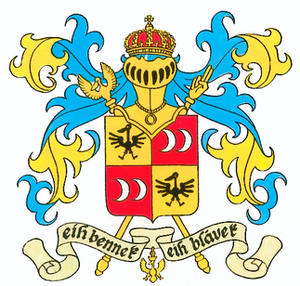 """Marols - The coat-of-arms of Syldavia features a motto in Syldavian, which is based on Marols. It reads Eih bennek, eih blavek, in English: (""""Here I am, here I stay"""")."""