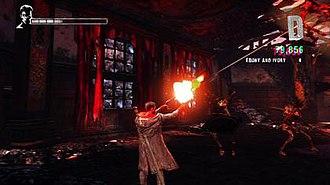DmC: Devil May Cry - Dante battling demons in Limbo using his semi-automatic pistols Ebony and Ivory.