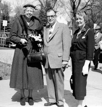 University of Wisconsin–Eau Claire - President William R. Davies and Delpha Davies welcome Eleanor Roosevelt to the Eau Claire campus on April 20, 1954. The former First Lady addressed an audience of more than 2,000 at a United Nations Day.