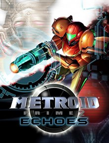 "A person in a big, futuristic-looking powered suit with a helmet and large, bulky, and rounded shoulders holds the firearm on the right arm. A large crosshair-like symbol stands over her cannon, and other icons from the gameplay are seen on the right side of the image. Behind the person, a bird-like creature on a white background and a creature with a big red eye on a black one. In the bottom of the image, the title ""Metroid Prime"" in front of an insignia with a metallic ball with a black core."