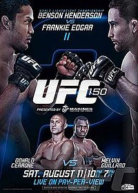 A poster or logo for UFC 150: Henderson vs. Edgar II.