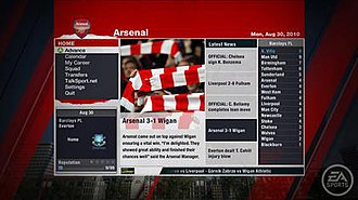 FIFA 11 - An in-game screenshot highlighting the improved Career Mode.