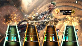 Guitar Hero 5 - Four player gameplay where all four are playing the same instrument on three different difficulties.
